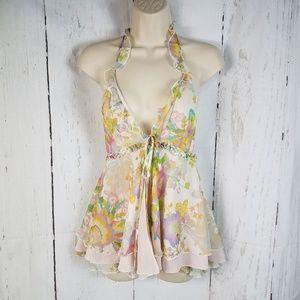 Moda International s Silk Floral Ruffle Halter Top